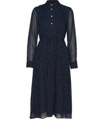 d1. french dot chiffon dress knälång klänning blå gant