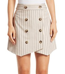 striped double-breasted mini skirt