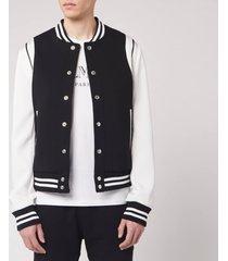 balmain men's balmain bicolor neoprene bomber jacket - black/white - it 52/xl