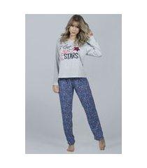 pijama feminino bella fiore modas longo la vie cinza