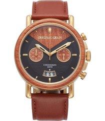 original grain alterra chronograph leather strap watch, 44mm