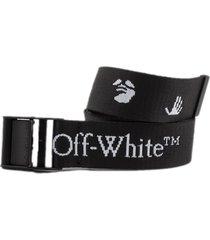 off-white black logo-print belt