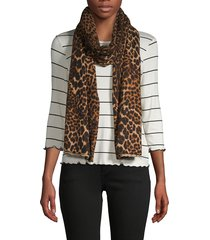amicale women's animal-print cashmere scarf - camel