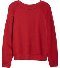women's entireworld french terry sweatshirt, size medium - red (nordstrom exclusive)