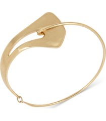 """robert lee morris soho gold-tone sculptural frontal round wire 17"""" collar necklace"""