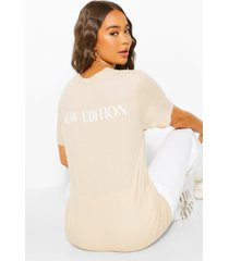 new edition back slogan t shirt, stone