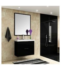 conjunto para banheiro pietra bosi gabinete suspenso + cuba e espelheira preto