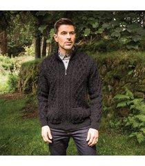 men's soft merino wool zip cardigan charcoal medium
