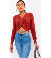 akira the most knot front crop sweater