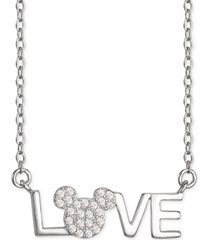 "disney cubic zirconia mickey mouse love 18"" pendant necklace in sterling silver"