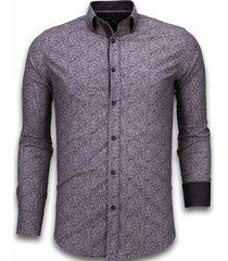 overhemd lange mouw tony backer italiaanse overhemden - slim fit - purple flower pattern -