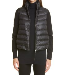 women's moncler quilted down & wool short cardigan, size x-large - black