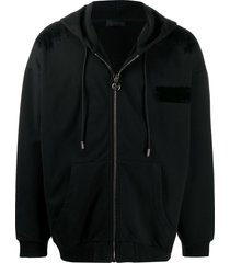 diesel black gold elbow patch front zip hoodie