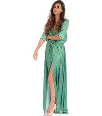 vestido color siete para mujer - verde