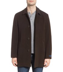 men's cole haan italian wool blend overcoat, size x-large - brown