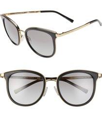 women's michael kors 54mm round sunglasses - black/ black gradient