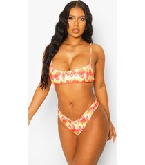 korte zonsondergang bikini top met spaghettibandjes, yellow