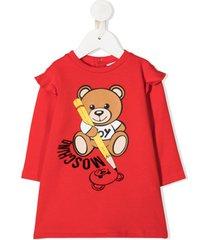 moschino kids teddy bear-print sweatshirt dress - vermelho