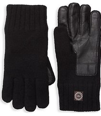 knit, faux fur & leather touchscreen gloves