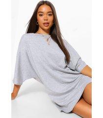 oversized batwing shift dress, grey marl