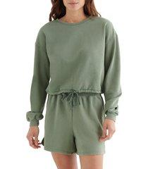 women's lucky brand cool for summer crop sweatshirt, size x-small - green