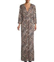 bcbgmaxazria women's leopard-print jumpsuit - size xs