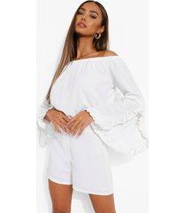 crop top met ruches en uitgesneden hals en shorts, white