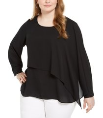 alfani plus size overlay blouse, created for macy's