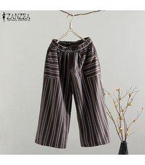 s-5xl zanzea elástico de las mujeres de la cintura de los pantalones harem ocasional piernas muy holgado pantalón de ee.uu. -marrón