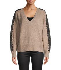avantlook women's lace-trim sweater - sand - size xl