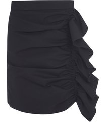 red valentino rear zip ruffle applique skirt
