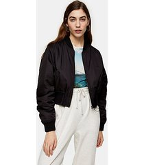 black cropped bomber jacket - black