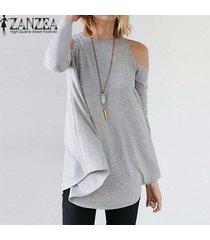 zanzea elegante de las mujeres blusas tops señoras del otoño del atractivo de la túnica del hombro manga larga pullover floja ocasional de la blusa de las camisetas (negro) -gris