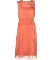 alberta ferretti lace-panel dress - pink