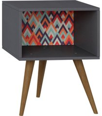 mesa de cabeceira lyam decor retrã´ preto vermelho - preto - dafiti