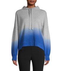 360 cashmere women's coral ombré dropped-shoulder pullover - mist blue - size xs