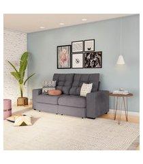 sofá 3 lugares retrátil e reclinável cannes suede grafite
