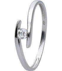 anello in oro bianco con zirconi per donna