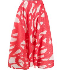pleats please issey miyake micro-pleated a-line skirt - red