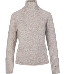 fedeli woman high neck pullover in sand melange cashmere