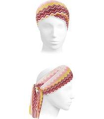 missoni women's chevron scarf headband - pink yellow multi