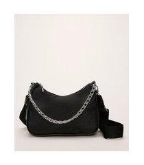 bolsa feminina baguete com corrente e alça removível preta