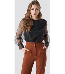 na-kd party long sleeve organza blouse - black