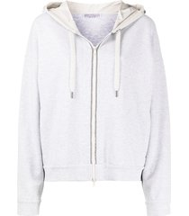 brunello cucinelli drop shoulders drawstring hoodie - grey