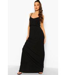 maxi jurk met v-hals en shirtmouwen, black