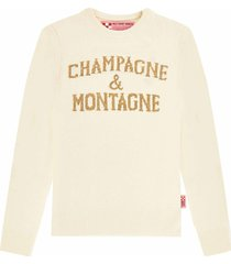 champagne & montagne white womans sweater