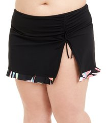 profile by gottex plus size paparazzi printed-hem swim skirt women's swimsuit