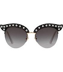 gucci eyewear black cat eye acetate sunglasses with pearls