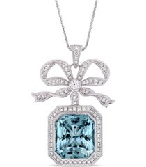 blue topaz (17 4/5 ct. t.w.) and diamond (1 2/5 ct. t.w.) bow halo necklace in 14k white gold