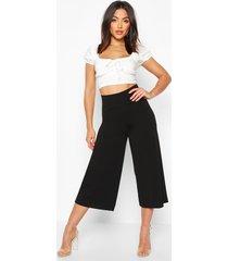 deep contour waistband wide leg culottes, black